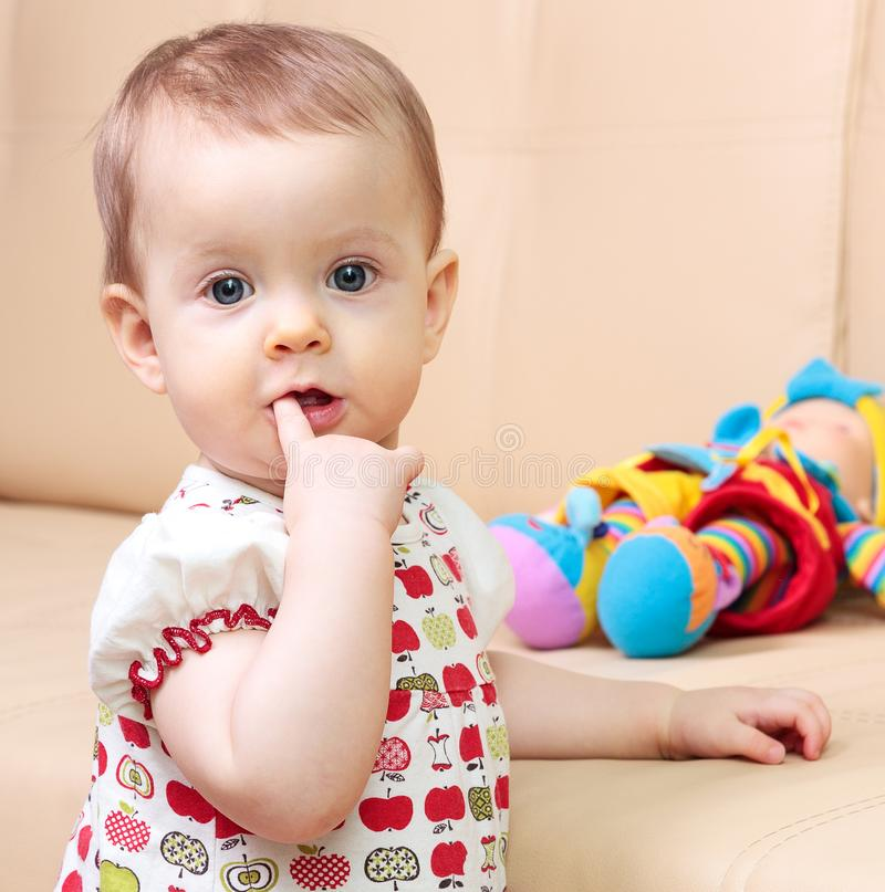Closeup shot of cute toddler child royalty free stock images
