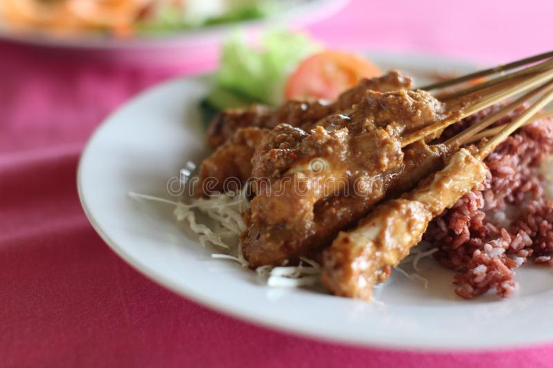 Closeup shot of delicious chicken satay with rice in a white plate royalty free stock photo