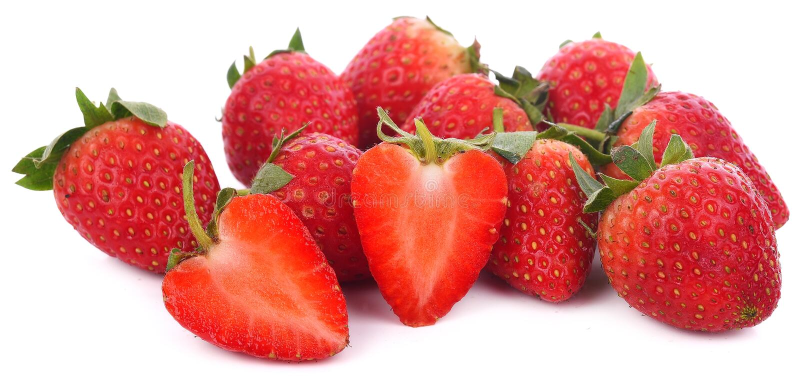 Closeup shot of fresh strawberries. Isolated on white background stock images