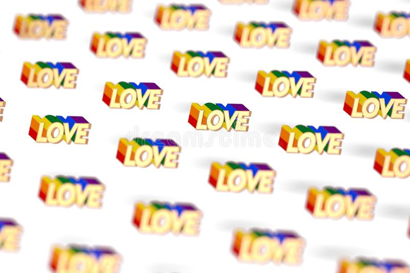 Closeup shot on Golden LOVE word with rainbow outline pattern. June as a month of gay pride and love concept. Isolated on white vector illustration