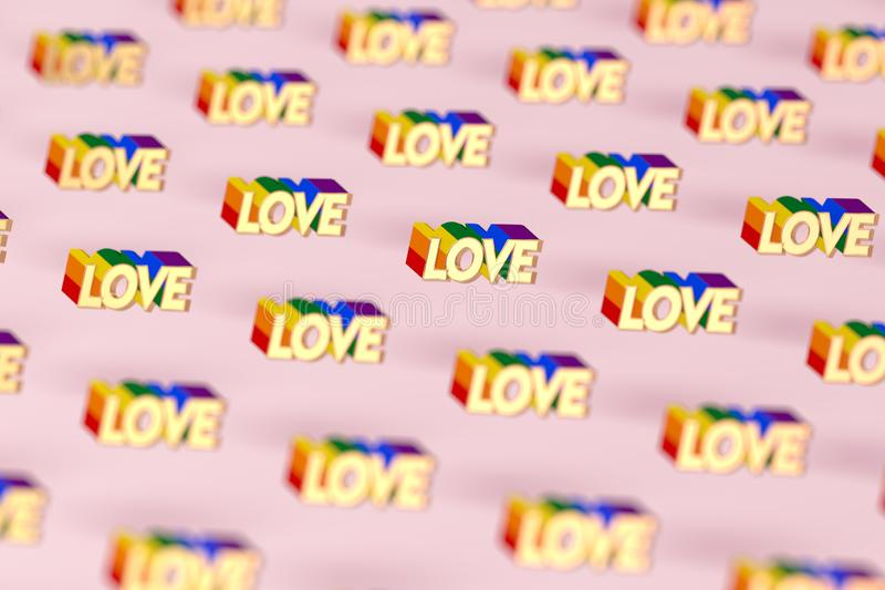 Closeup shot on Golden LOVE word with rainbow outline pattern. June as a month of gay pride and love concept.  on pink stock illustration