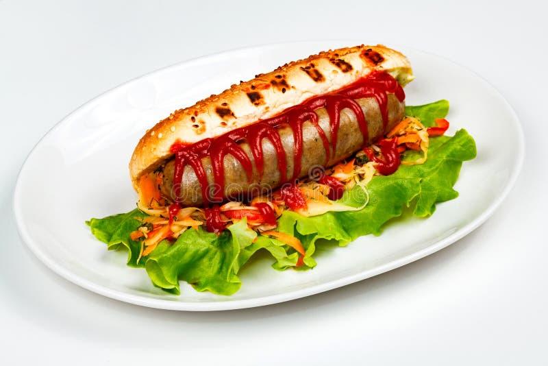 Closeup shot of a hot dog royalty free stock photo