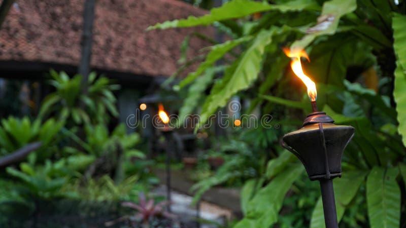 Closeup shot of Lamppost,Lantern with garden background stock photo