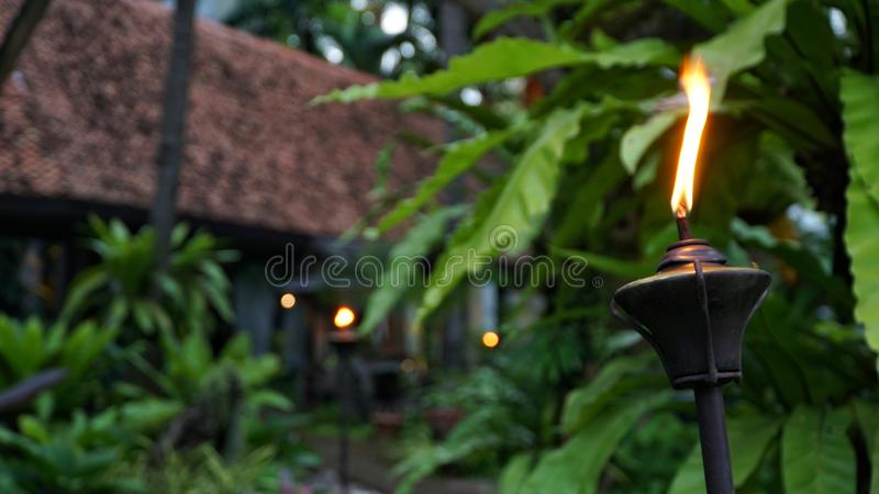Closeup shot of Lamppost,Lantern with garden background royalty free stock photography