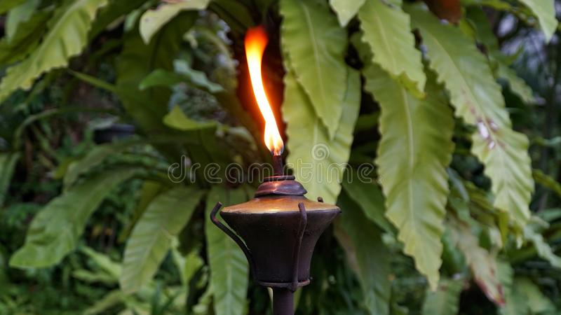 Closeup shot of Lamppost,Lantern with garden background stock photos