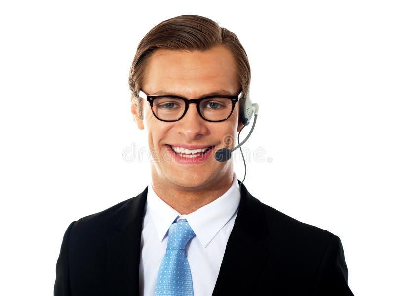 Closeup shot of male customer support member stock image