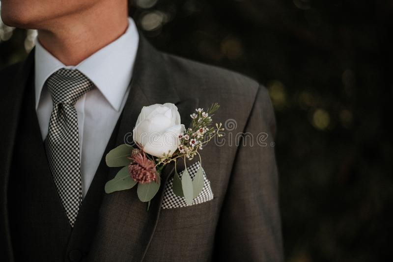 Closeup shot of a male wearing a tuxedo with a boutonniere in its pocket royalty free stock images