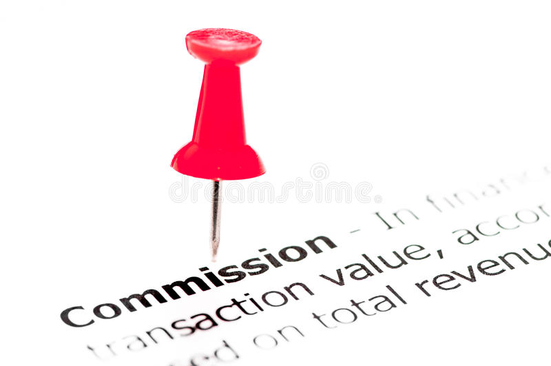 Closeup shot over word Commission paper. Word Commission pinned on white paper with red pushpin, copy space available, Business Concept royalty free stock photography