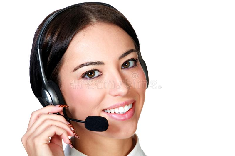 Closeup shot portrait of a smiling customer service girl isolate royalty free stock photography