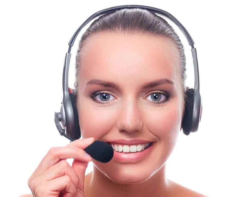 Closeup shot portrait of young pretty woman with headset isolated on white royalty free stock photo