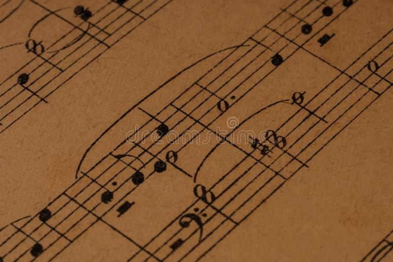 Piano Chords In A Classical Print Score Stock Image - Image of pedal