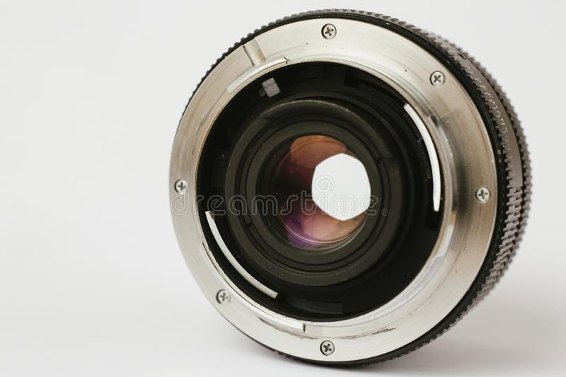 Closeup shot of a professional camera lens on a white background stock images
