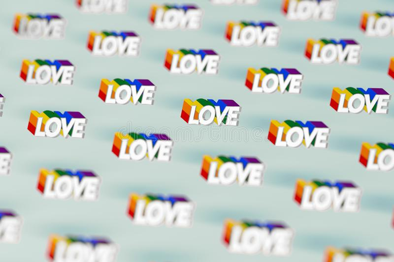 Closeup shot on Silver LOVE word with rainbow outline pattern. June as a month of gay pride and love concept.  on pastel royalty free illustration