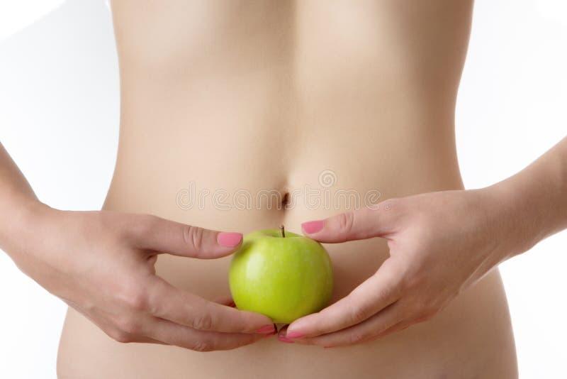 Closeup shot of slim woman midriff stock photo