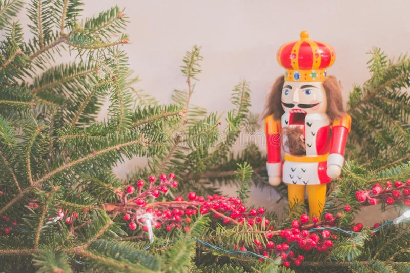 Closeup shot of small red berries on a pine tree branch with a nutcracker figurine royalty free stock photo