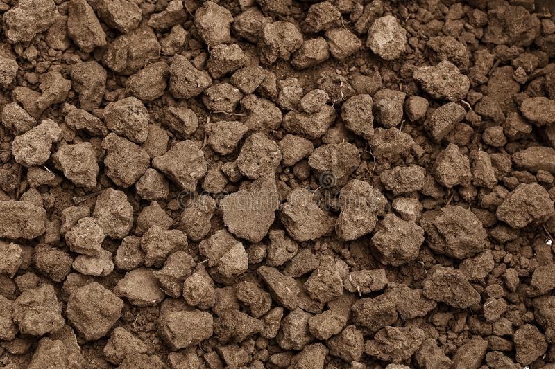 Closeup shot of Soil texture, cultivated dirt, earth, ground, br. Own land background. Clods of earth in a plowed field in preparation for the next planting. for stock images