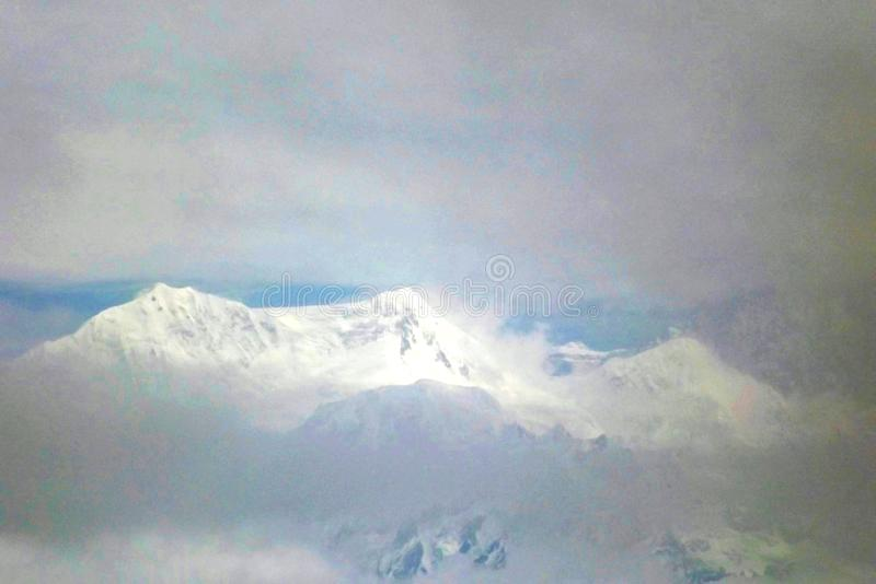 Closeup shot of the spectacular snow clad view of Kanchenjunga royalty free stock images