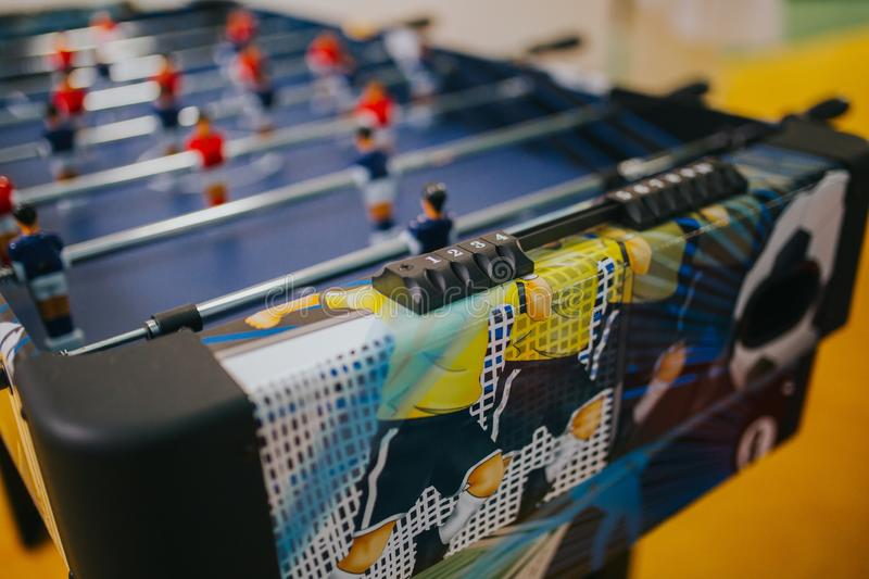 Closeup shot of table soccer at a daycare center stock image