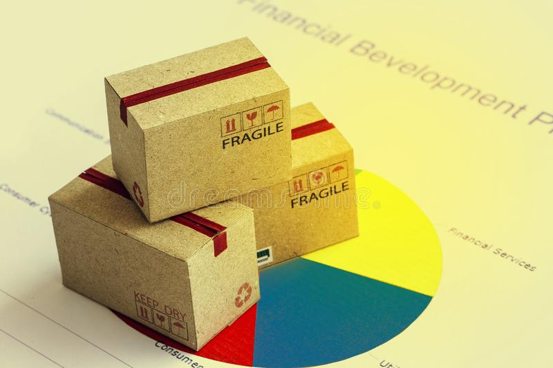 Closeup shot of three cardboard paper boxes and this type of fin stock photos