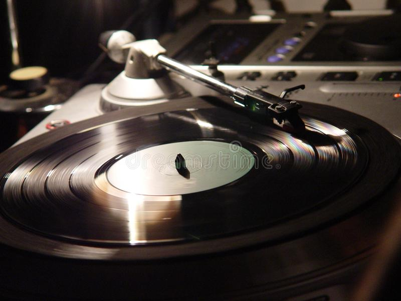 Closeup shot of a vinyl record player. A closeup shot of a vinyl record player royalty free stock photography