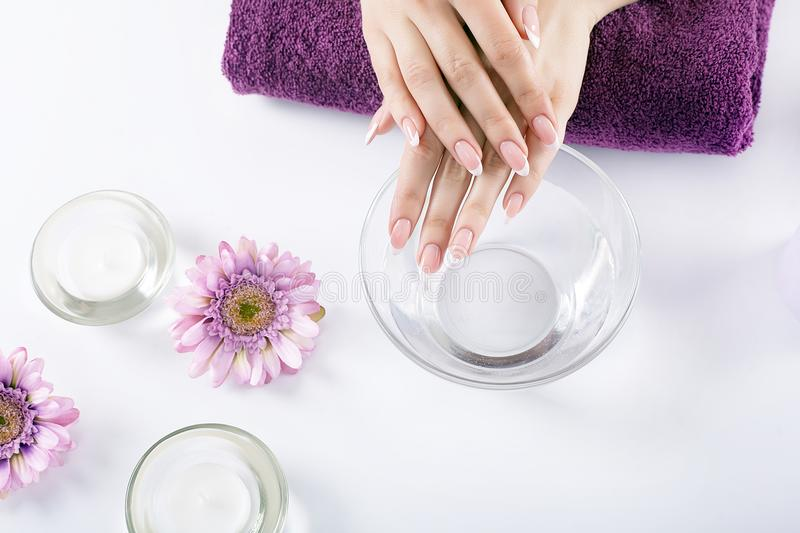 Closeup shot of a woman in a nail salon receiving a manicure by. Woman hands in a nail salon receiving a hand scrub peeling by a beautician. SPA manicure, hand royalty free stock image