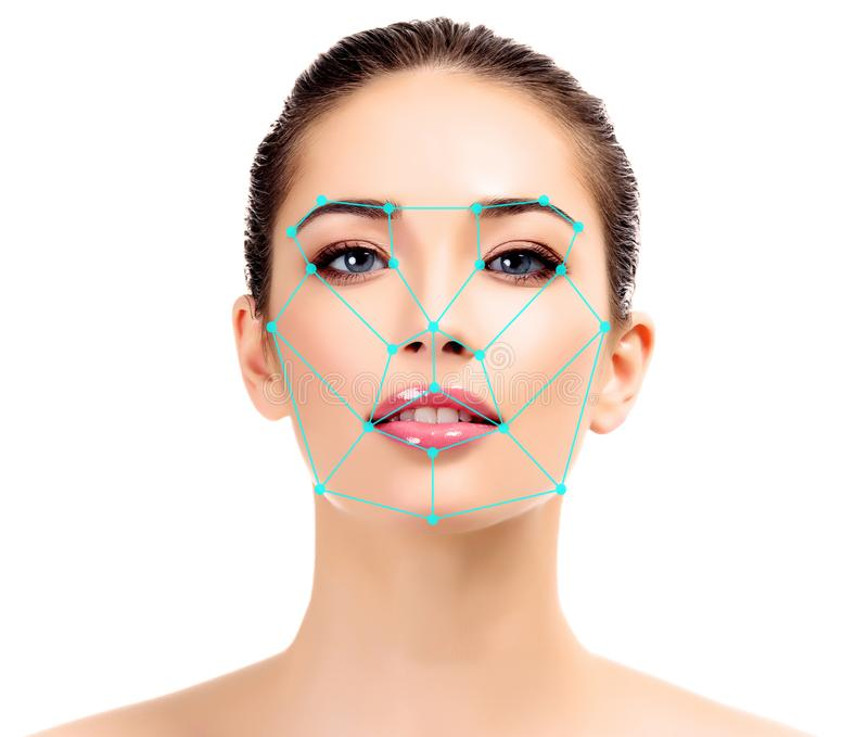 Closeup shot of woman with scnanning grid on the face. royalty free stock image