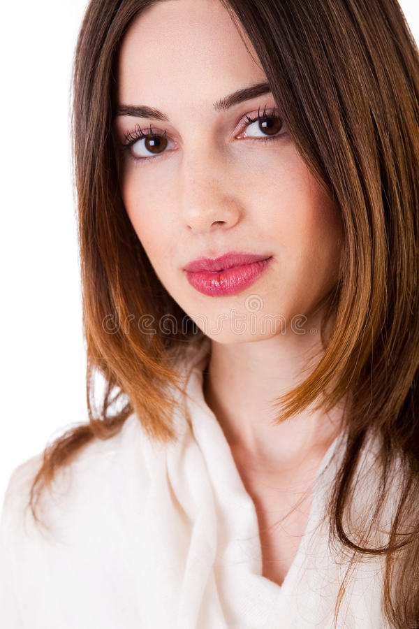 Closeup shot of young brunette model royalty free stock photo
