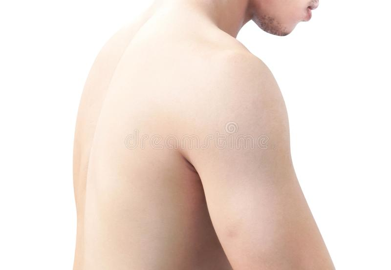 Closeup side view shoulder and back of body man on white background, health care and medical concept royalty free stock image