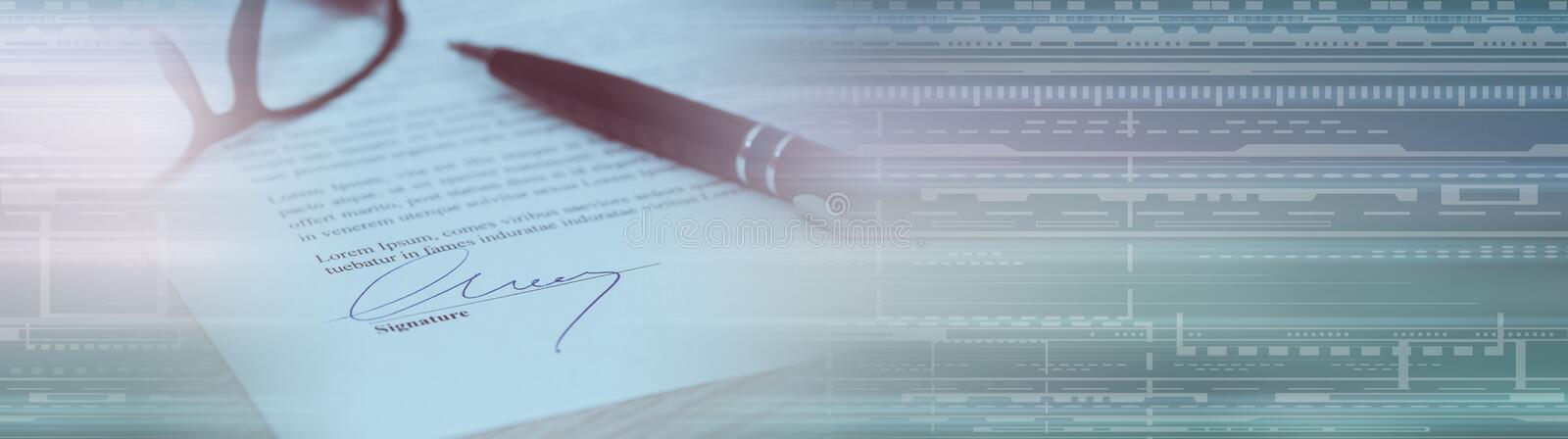 Closeup of signed contract; panoramic banner royalty free stock image
