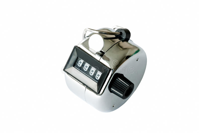 Closeup of sillver tally counter royalty free stock photography