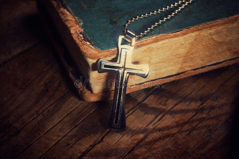 Closeup of silver Christian cross royalty free stock photos