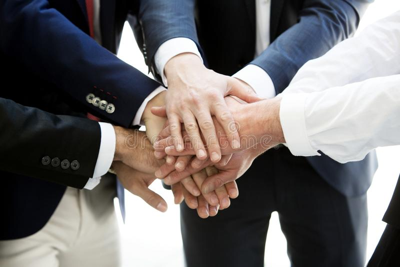 Closeup of hands from businessmen together royalty free stock photos