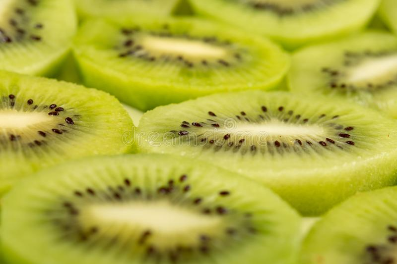 Closeup of Sliced Kiwi Fruit On The Plate royalty free stock photography