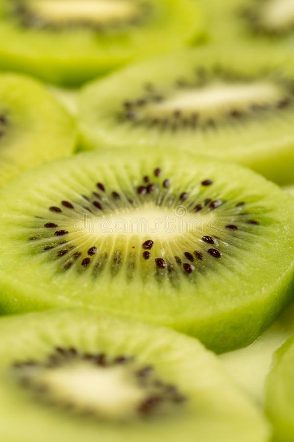 Closeup of Sliced Kiwi Fruit On The Plate royalty free stock image