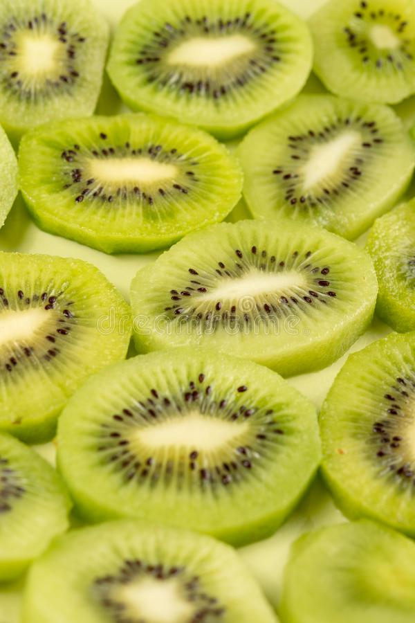 Closeup of Sliced Kiwi Fruit On The Plate royalty free stock images