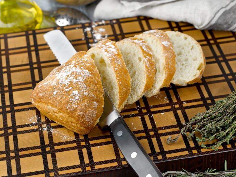 Closeup of slices of fresh white ciabatta bread stock images