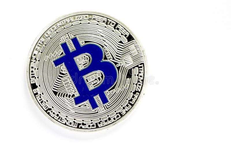 Slliver bitcoin virtual coins isolated on white background. Closeup on slliver bitcoin virtual coins isolated on white background stock photo