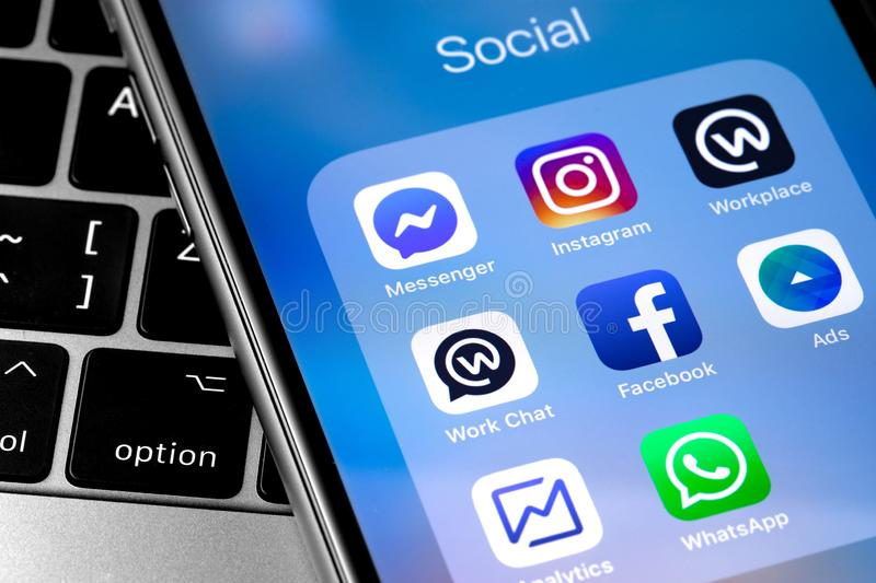 Smartphone with icons app Facebook services, Instagram, WhatsApp stock image