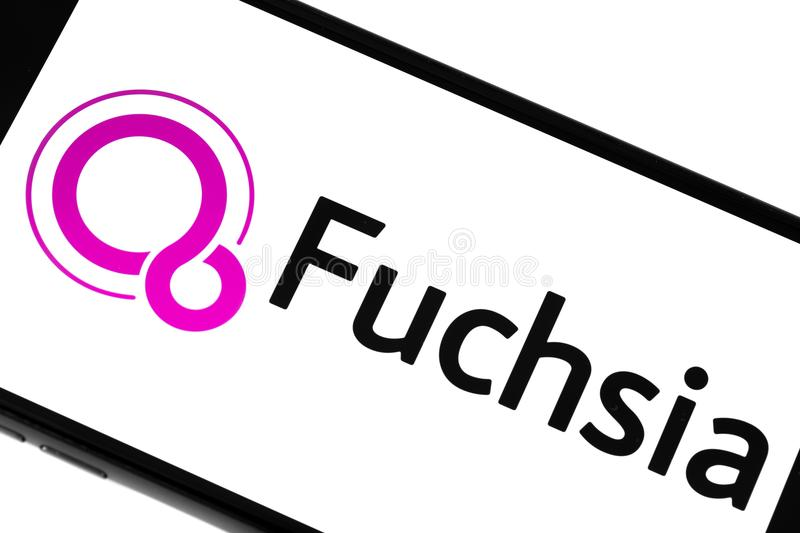 Google fuchsia. Closeup of smartphone screen with Google Fuchsia logo text and icon. Ekaterinburg, Russia - July 29, 2018 stock image
