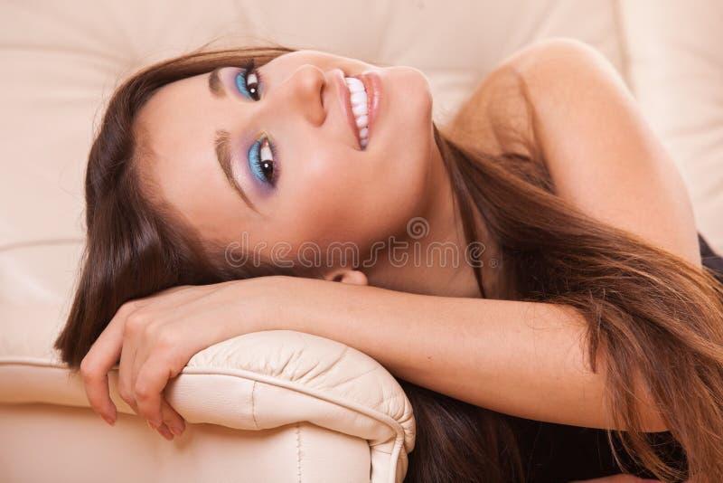Closeup smiling woman stock image