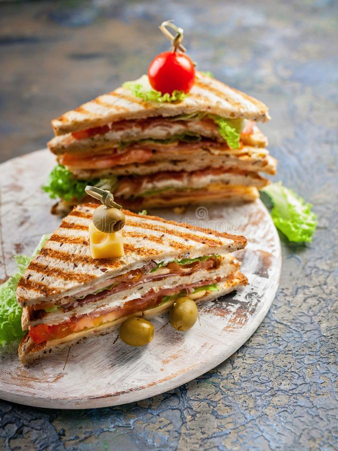 Closeup of a smoked beef sandwich and green salad on a round cutting board. Traditional breakfast or lunch. Vertical shot royalty free stock image