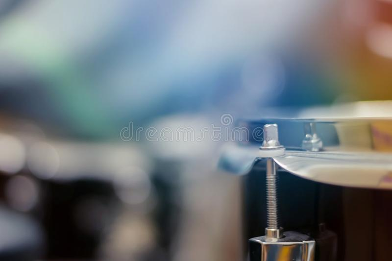 Closeup of snare drum, musical instruments, soft and blur concept.  stock photo