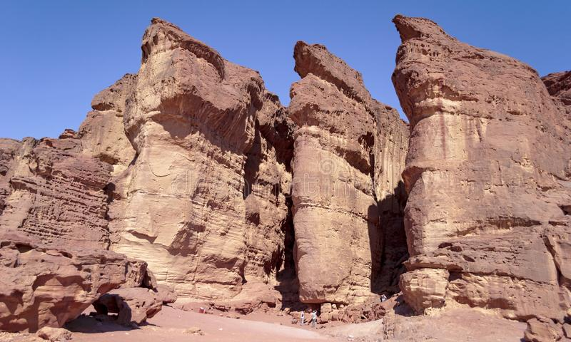 Closeup of Solomon`s Pillars at Timna Park in Israel royalty free stock image