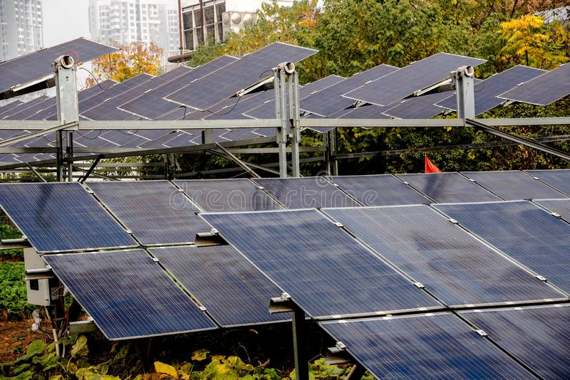 solor panels with the sun reflecting in them stock photo