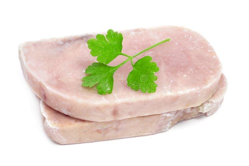 Frozen tuna slices stock photos