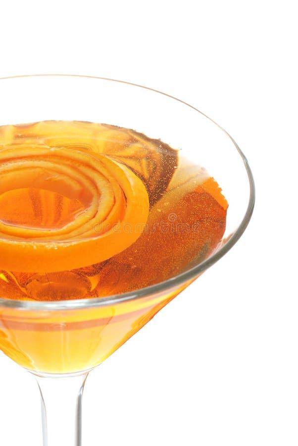 Closeup Of A Sparkling Orange Martini. Isolated Closeup Of A Sparkling Orange Martini on white background stock photo