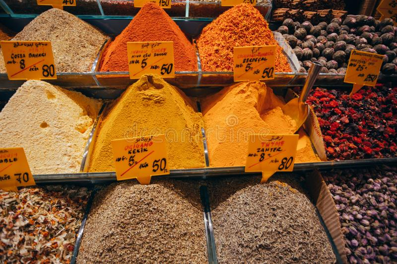 Closeup of spices on sale market. Turkey, Istanbul stock photos
