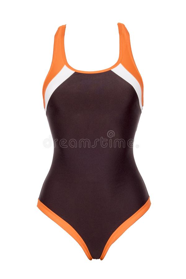 Closeup of sporty brown one piece swimsuit isolated on white background stock photo