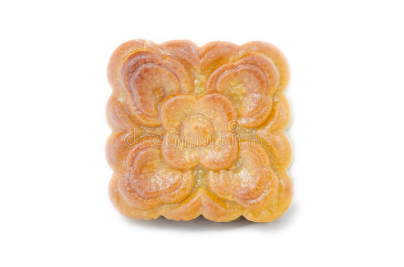 Closeup square moon cake isolated on white background royalty free stock photography