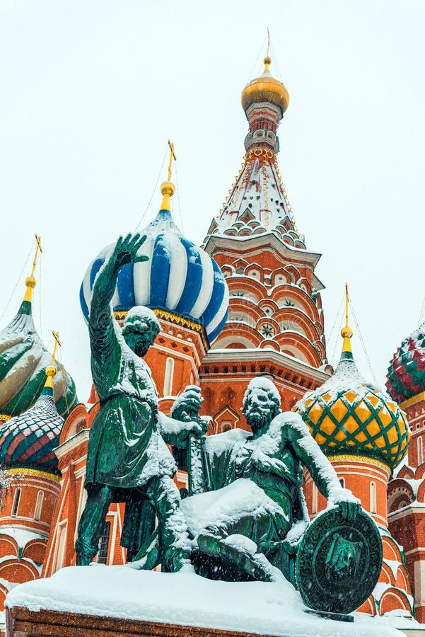 Closeup of St. Basil`s Cathedral on Red Square in Moscow stock photos